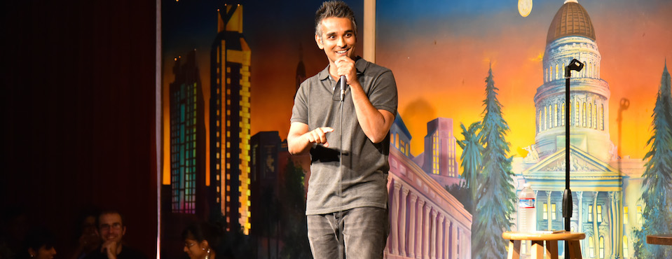 Telling jokes in San Francisco.